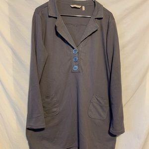 Soft surroundings XL gray waffle weave tunic 925a